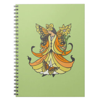 Orange Butterfly Fairy With Flowing Dress Notebook