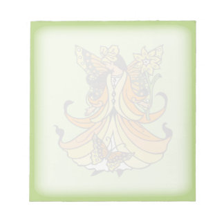 Orange Butterfly Fairy With Flowing Dress Notepad