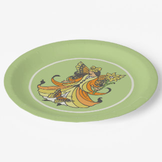 Orange Butterfly Fairy With Flowing Dress Paper Plate