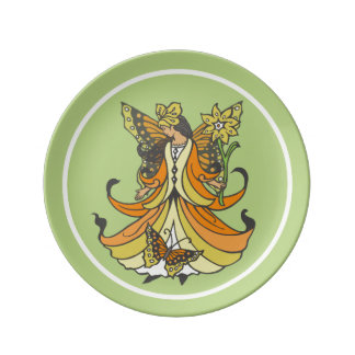 Orange Butterfly Fairy With Flowing Dress Plate