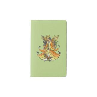 Orange Butterfly Fairy With Flowing Dress Pocket Moleskine Notebook