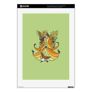 Orange Butterfly Fairy With Flowing Dress PS3 Console Skin