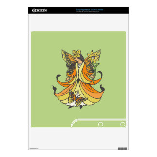 Orange Butterfly Fairy With Flowing Dress PS3 Slim Console Decals
