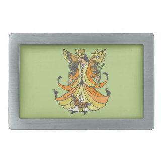 Orange Butterfly Fairy With Flowing Dress Rectangular Belt Buckle