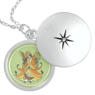 Orange Butterfly Fairy With Flowing Dress Round Locket Necklace