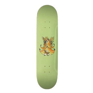 Orange Butterfly Fairy With Flowing Dress Skateboard