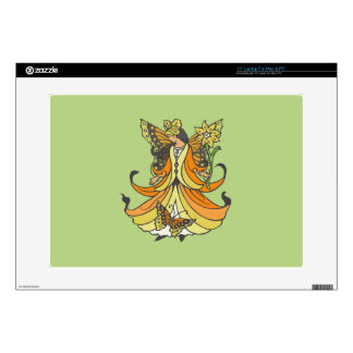 "Orange Butterfly Fairy With Flowing Dress Skin For 15"" Laptop"