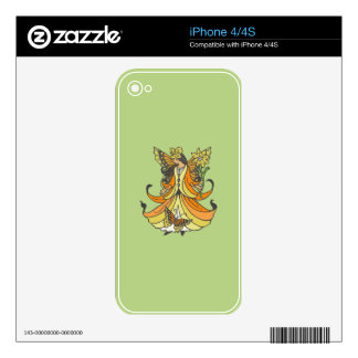 Orange Butterfly Fairy With Flowing Dress Skin For iPhone 4S