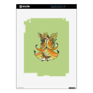 Orange Butterfly Fairy With Flowing Dress Skins For iPad 2