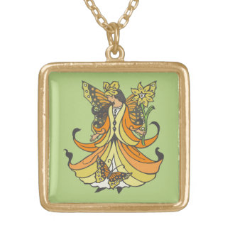 Orange Butterfly Fairy With Flowing Dress Square Pendant Necklace