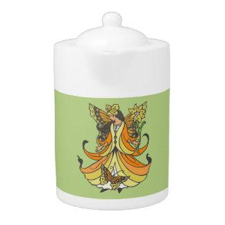 Orange Butterfly Fairy With Flowing Dress Teapot