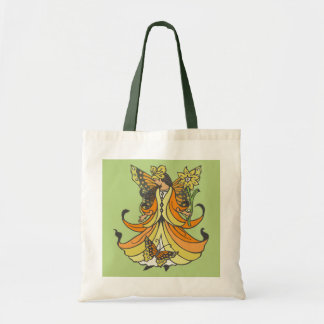 Orange Butterfly Fairy With Flowing Dress Tote Bag