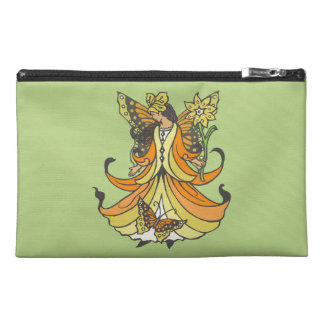 Orange Butterfly Fairy With Flowing Dress Travel Accessory Bag
