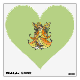Orange Butterfly Fairy With Flowing Dress Wall Decal