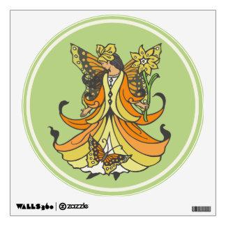 Orange Butterfly Fairy With Flowing Dress Wall Sticker