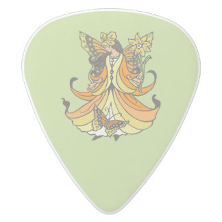 Orange Butterfly Fairy With Flowing Dress White Delrin Guitar Pick