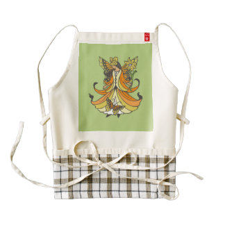 Orange Butterfly Fairy With Flowing Dress Zazzle HEART Apron
