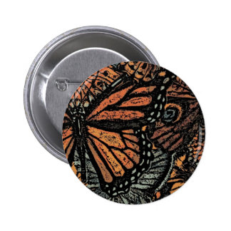 Orange butterfly fantasy abstract art pinback buttons