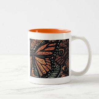 Orange butterfly fantasy abstract art Two-Tone coffee mug