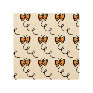 Orange Butterfly Flight Wood Canvases