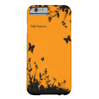 Orange Butterfly Garden Personalized Barely There iPhone 6 Case