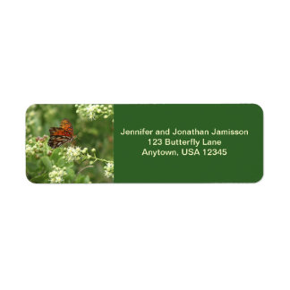 Orange Butterfly, Green Return Address Labels