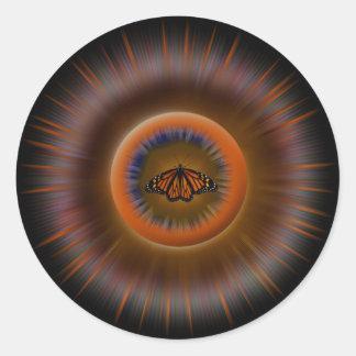 Orange Butterfly Mandala Sticker