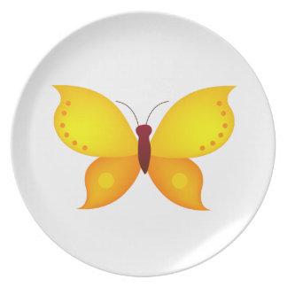 Orange Butterfly Melamine Plate