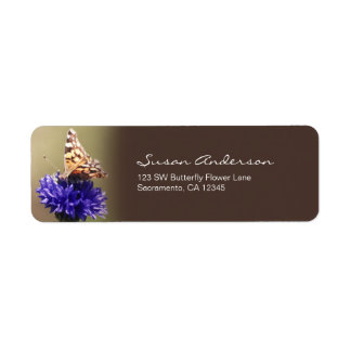 Orange Butterfly on a Purple Flower Label