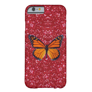 Orange Butterfly On Red Glitter iPhone 6 Case