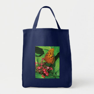 Orange Butterfly on Red Kalanchoe Canvas Bag