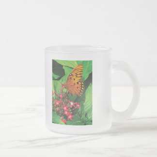 Orange Butterfly on Red Kalanchoe Frosted Glass Coffee Mug