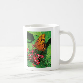 Orange Butterfly on Red Kalanchoe Coffee Mug