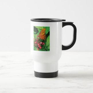 Orange Butterfly on Red Kalanchoe Coffee Mugs