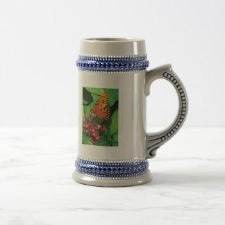 Orange Butterfly on Red Kalanchoe Mug