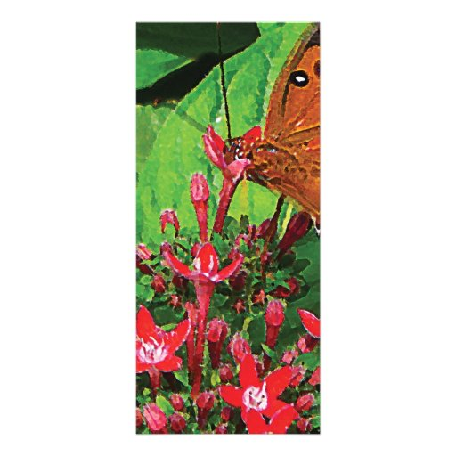 Orange Butterfly on Red Kalanchoe Personalized Rack Card