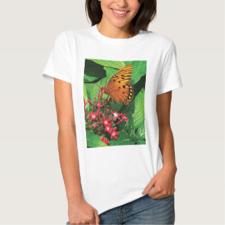Orange Butterfly on Red Kalanchoe Tee Shirt