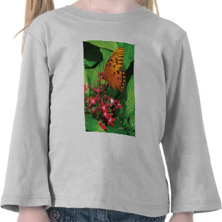 Orange Butterfly on Red Kalanchoe Shirt
