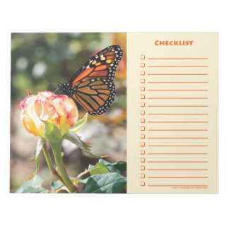 Orange Butterfly on Rose - Notepad