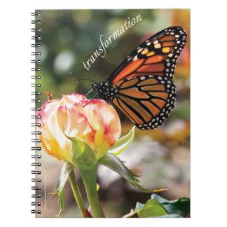 Orange Butterfly on Rose - Spiral Notebook