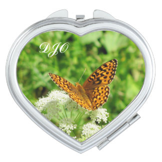 Orange Butterfly on White Flower w/ Your Initials Mirror For Makeup
