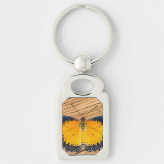 Orange Butterfly on Wood Silver-Colored Rectangular Metal Keychain