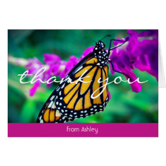 Orange butterfly photo custom name thank you note card