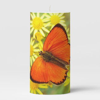 Orange Butterfly Pillar Candle
