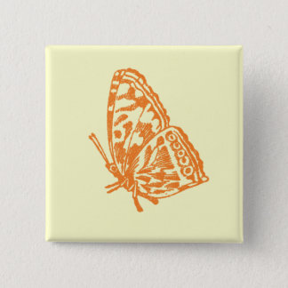Orange Butterfly Pinback Button