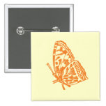 Orange Butterfly Pinback Buttons