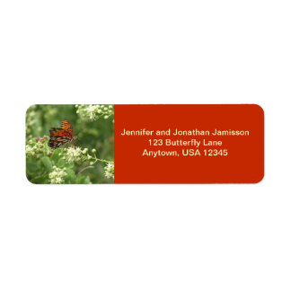 Orange Butterfly Return Address Labels