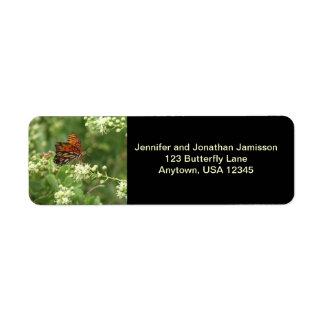 Orange Butterfly Return Address Labels Black