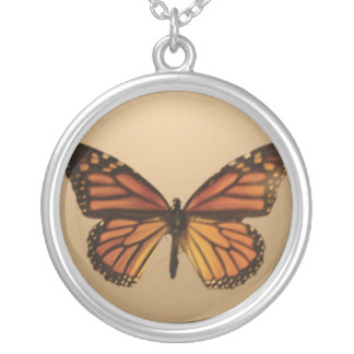 Orange Butterfly Round Pendant Necklace