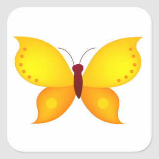 Orange Butterfly Square Sticker